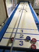 Playcraft Extera 12and039 Outdoor Shuffleboard Table With 20 Playfield W Cover/pucks