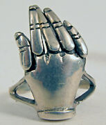 Vintage Sterling Silver Articulated Hand Moving Fingers Ring Nice Sz 8.25 Rare