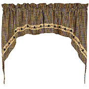 New Primitive Country Farmhouse Black Star Berry Vine Plaid Cafe Swags Curtain