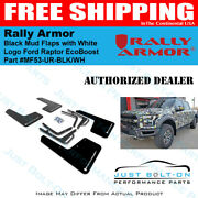 Rally Armor Ur Black Mud Flaps With White Logo - 2017-2021 Ford Raptor Ecoboost