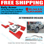 Rally Armor Ur Red Mud Flaps With Black Logo - 2017-2021 Ford Raptor Ecoboost