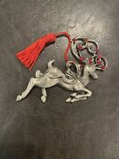 Avon Pewter Christmas Ornament 2006 Reindeer - New In Box W/ Pouch Red Jewelsandnbsp