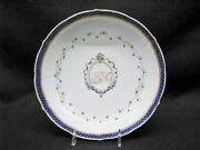 Late 18th Century Chinese Blue Porcelain Shallow Bowl W/cartouche And Monogram