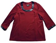 New Bob Mackie Wearable Art Red Long-sleeved Faux Leather Trim Sweater Nwot Xl