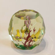Antique 1920s - 30s Faceted Sulphide Glass Fire Bush Birds Paperweight Htf