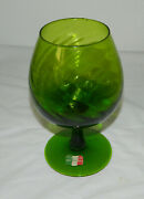 Vintage Cellini Masterpieces Italy Green Art Glass Brandy Snifter Goblet 8.5 T