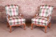 Baker Furniture French Provincial Louis Xv Bergere Chairs Pair