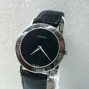 Used 3000m Mens Quartz Watch Stainless Steel Leather Belt Black Color