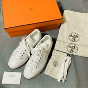 New Hermes Trail Sneakers White Calf 25.5cm Size 41 With Shoe Bag Card Rare