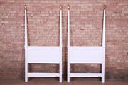 Baker Furniture French Provincial White Lacquered Twin Headboards, Newly Refinis