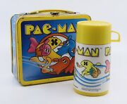Vintage 1980 Aladdin Pac-man Metal Lunchbox And Plastic Thermos