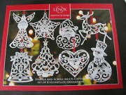 Lenox Sparkle And Scroll Silver Plated Ornaments - Set Of 8 - New - Boxed
