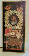 Unique Rare Antique Large Early Victorian Print On Wood 47 X 22
