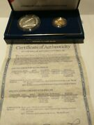 1987 Us Mint Constitution 2 Coin Proof Set 1 Silver 5 Gold Coin W/box And Coaandnbsp