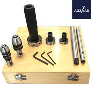 Lathe Tailstock Tap And Die Holder Kit Mt3 Shank Threading Tapping Set Wooden Box