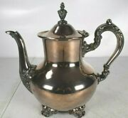 Vintage Silverplate Tea Pot Pitcher Old English By Poole Epca