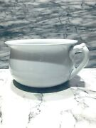 J And G Meakin Hanley England 19th C White English Ironstone Chamberpot W/ Handle