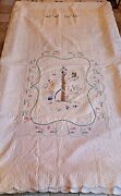 Vintage Hand Made Baby Quilt Antique Hand Sewn May Pole Childs Blanket 58x96