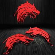 2x 3 3d Abs Emblem Decal Motorcycle Bike Glossy Sticker Wolf Gang Chromed Red