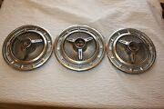 1960and039s Chevrolet Chevy Ss 14 Spinner Wheel Cover Hubcap Set Of 3 Nice Vintage