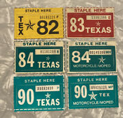 Lot Of Vintage Nos Texas License Plate Tags. 1982,1983,1984,1990 Different Types