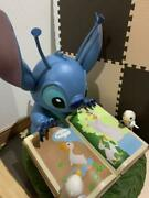 Used Disney Store Stitch Big Figure Doll Size 48cm Blue Color Cute Toy Very Rare