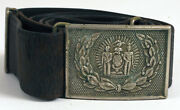 Leather Belt Buckle Seal Of Nyc New York Manhattan Indian Sailor Military Police