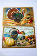2 Antique 1900's Thanksgiving Greetings Postcards Colorful Nyc To Spotswood Nj