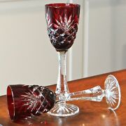 Pair Faberge Odessa Liqueur Cordial Glasses Signed, Red Cased Crystal