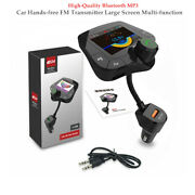 Car Hands-free Fm Transmitter2'' Screen Multi-function Usb Charger Bluetooth Mp3