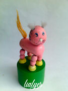 Old Kitten . Wooden Push Button Puppet Toy Collapsing