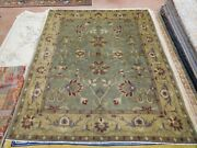Modern Tibetan Nepalese Rug 8and039x9and03910and039and039 Carpet Olive Green Wool Handmade