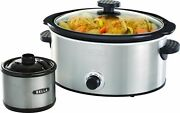 Bella - 5-qt. Slow Cooker With Dipper - Stainless Steel