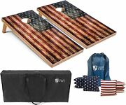 Set Of 4and039x2and039 Distressed American Flag Cornhole Boards With 8 Cornhole Bags