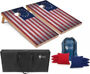Set Of 4and039x2and039 Betsy Ross American Flag Cornhole Boards With 8 Cornhole Bags