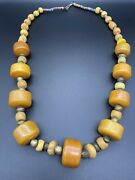 Antique Moroccan Butterscotch Amber And Brass Beaded Graduated Necklace 205g