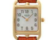 Hermes Cape Cc1.185 Yellow Gold Shell Dial Leather Belt Wm Ladies Watch [b0112]