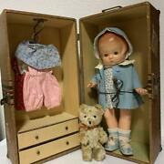 Effanbee Antique Composition Doll Clothing Collectible Sleepeye With Trunk Box