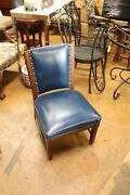 Shelby Williams Blue Leather Chair With Brass Nail Heads Vintage Great