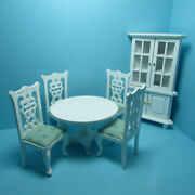 Dollhouse Miniature Dining Room Set In White With Corner Hutch Cabinet T0113