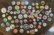 Huge Lot Of 79 Vintage Pin Back Buttons Political Comical Tourist Work And More