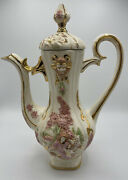 Vtg 1977 Hand Painted Embossed Pitcher 16x12x8 Rare
