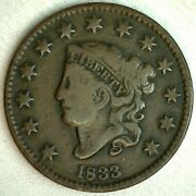 1833 Braided Hair Coronet Us Large Cent Penny 1c Coin Fine N5