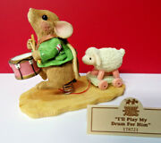 Priscilla's Mouse Tales I'll Play My Drum For Him Enesco Figurine