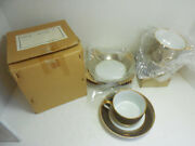 Fitz And Floyd Les Bandes Platinees Cups And Saucers Set Of 4 Original Box Nib