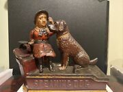1885 Authentic Old Speaking Dog Mechanical Bank Neat And Works Great