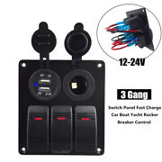 1pc 3 Gang 12-24v Switch Panel Fast Charge Car Boat Yacht Rocker Breaker Control