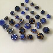 Vintage Glass Buttons That Blue Moon Glows, Blue With Gold, Silver Luster