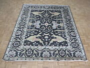 8and0395 X 9and03911 Hand Knotted Charcoal Black Oushak Oriental Rug G9671