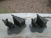 Antique N509 German Shepherd Dog House Cast Iron Bookends Not Huble